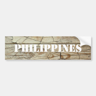 Philippines Stencil on Natural Wood Bumper Sticker