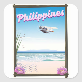 Philippines Travel poster Square Sticker