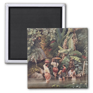 Philippino Women Washing Beneath a Banana Tree, 18 Refrigerator Magnets