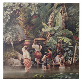 Philippino Women Washing Beneath a Banana Tree, 18 Tile