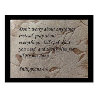 Phillipians 4:6 scripture post card