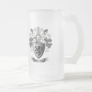 Phillips Family Crest Coat of Arms Frosted Glass Beer Mug