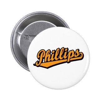 Phillips script logo in Orange 2 Inch Round Button