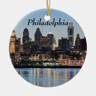 Philly sunset ceramic ornament