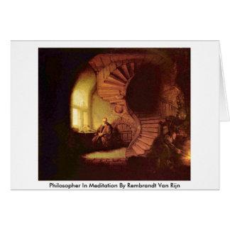 Philosopher In Meditation By Rembrandt Van Rijn Card