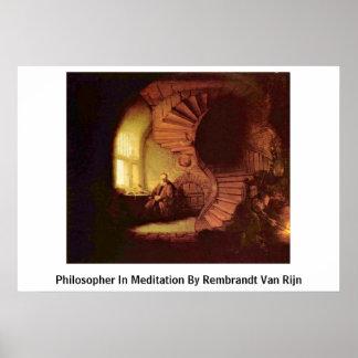 Philosopher In Meditation By Rembrandt Van Rijn Poster
