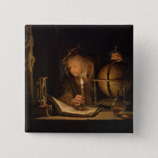 Philosopher Studying by Candlelight 2 Inch Square Button
