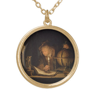 Philosopher Studying by Candlelight Gold Plated Necklace