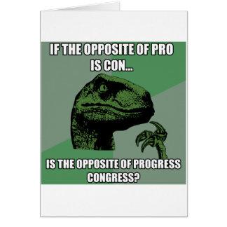 Philosoraptor Progress Vs Congress Greeting Card