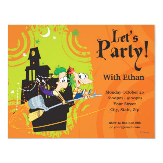 Phineas and Ferb Halloween Party Card