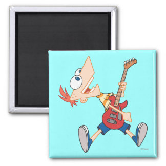 Phineas Rocking Out with Guitar Square Magnet