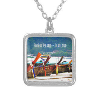 Phiphiisland postcard edition silver plated necklace