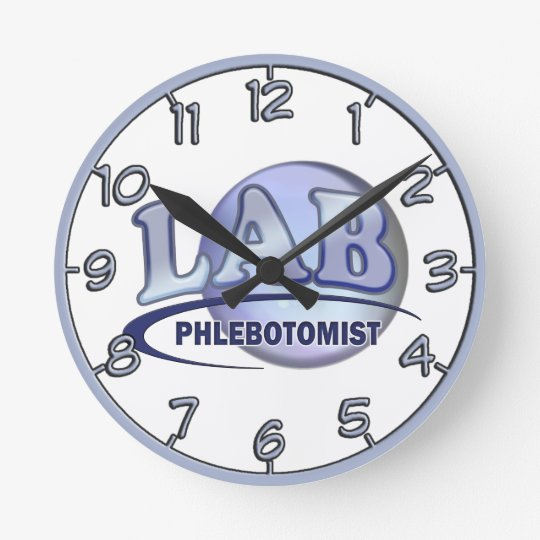 PHLEBOTOMIST Fun Blue LOGO Wall Clocks