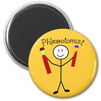 Phlebotomist Stick Person 2 Inch Round Magnet