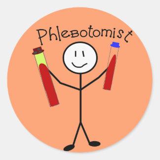 Phlebotomist Stick Person Round Sticker
