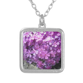 Phlox Dark Pink Pretty Silver Plated Necklace