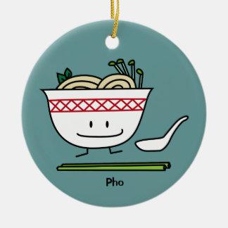 Pho Noodle Bowl Vietnam soup spoon chopsticks Ceramic Ornament