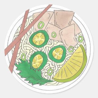 PHO Vietnamese Food Chicken Noodle Soup Chopsticks Classic Round Sticker