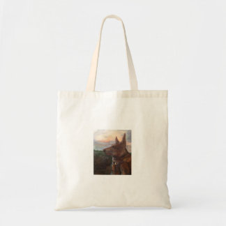 """""""Phoebe Dog in the Sunset"""" painting on a tote"""