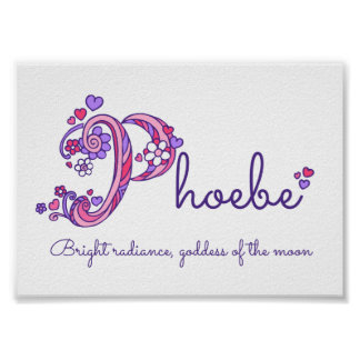 Phoebe initial P doodle heart art name meaning Poster