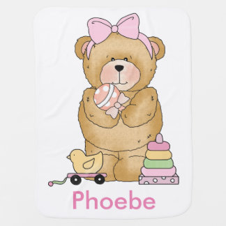 Phoebe's Teddy Bear Personalized Gift Baby Blanket