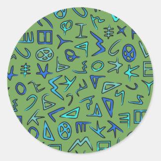 Phoenician alphabet round sticker