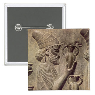 Phoenician carrying two offering, detail relief 2 inch square button
