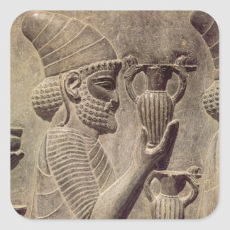 Phoenician carrying two offering, detail relief square sticker