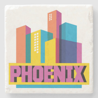 Phoenix, Arizona | Neon Skyline Stone Coaster