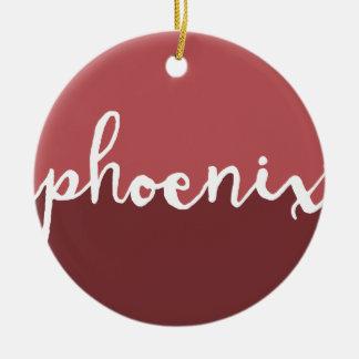 Phoenix, Arizona | Rust Calligraphy Ombre Ceramic Ornament