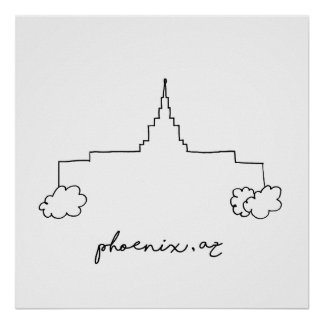 phoenix arizona temple simple modern sketch poster