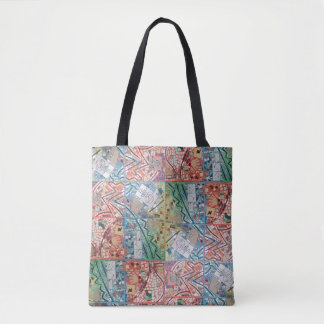 Phoenix Art Patchwork Mosaic Clock Tote Bag
