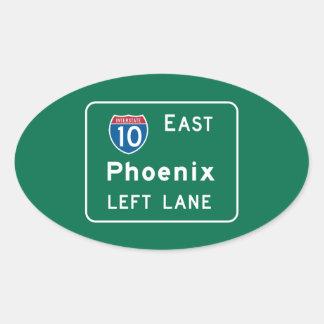 Phoenix, AZ Road Sign Oval Sticker