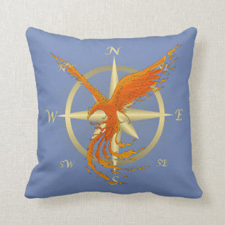Phoenix Bird Compass Throw Pillow