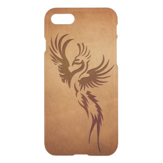 Phoenix bird embossed on brown leather iPhone 8/7 case