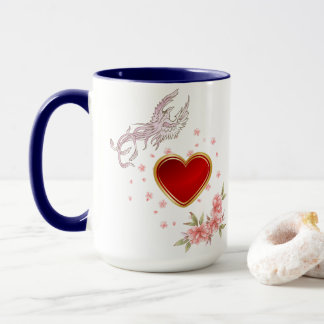 Phoenix Bird, Heart & Add Wife's Name Combo Mug