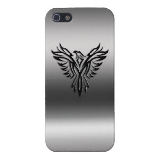 Phoenix, black on brushed steel effect iPhone 5/5S case