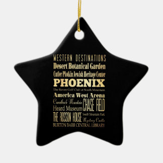 Phoenix City of Arizona State Typography Art Ceramic Ornament