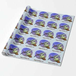 phoenix futuristic bird cartoon style illustration wrapping paper