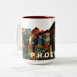 Phoenix in graffiti Two-Tone coffee mug