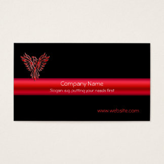 Phoenix in Red on black and metallic-look stripe Business Card