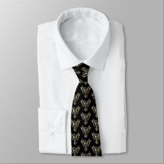 Phoenix rising in sepia on black tie