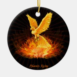 Phoenix Rising Round Ceramic Ornament