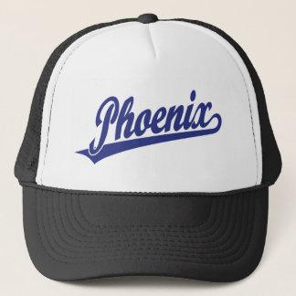 Phoenix script logo in blue trucker hat