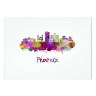 Phoenix V2 skyline in watercolor Card