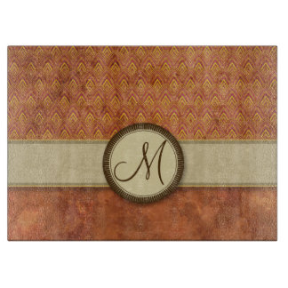 Phoenixes Fire Feather Pattern with Monogram Cutting Board