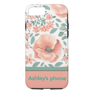 Phone case -- peach floral design
