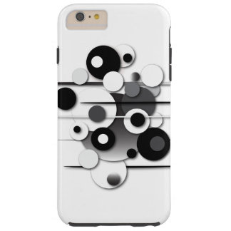 "Phone Case with ""Circles Black and White"" Design"