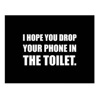 Phone Falls In Toilet Postcard