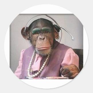 phone monkey round sticker